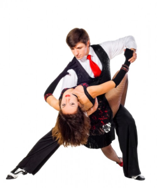 Two Tango dancers in action